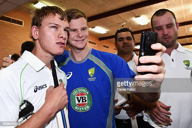 Steven Smith of Australia takes a selfie with a member of the Australian Blind Cricket Team during a training session at Gilles Field on January 25...