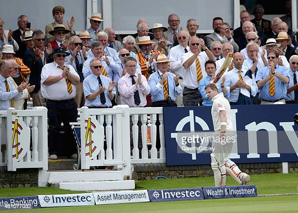 Steven Smith of Australia walks back to the pavilion after being dismissed by Joe Root of England for 215 runs during day two of the 2nd Investec...