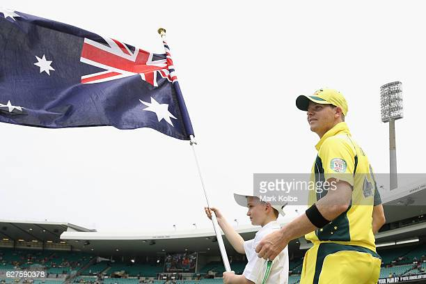 Steven Smith of Australia watches on as he waits to take the field before game one of the One Day International series between Australia and New...