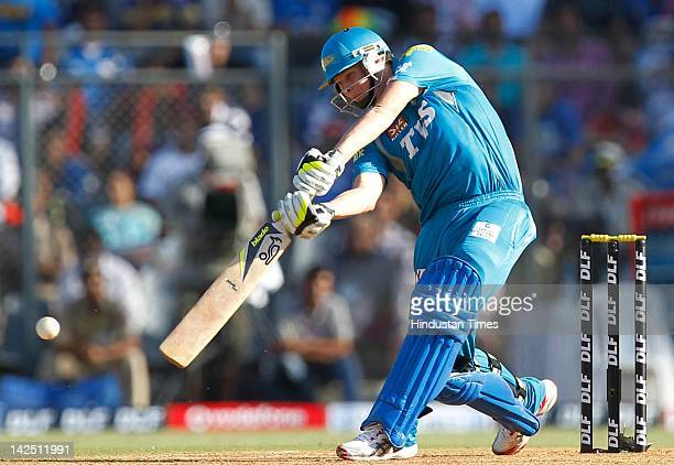 Steven Smith of Pune Warriors plays a shot during the IPL 5 match between the Mumbai Indians and Pune Warriors at Wankhede Stadium on April 6 2012 in...