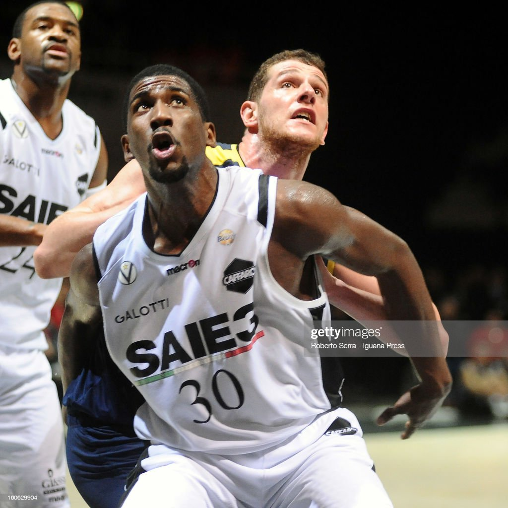 Steven Smith of SAIE3 competes with Valerio Amoroso of Sutor during the LegaBasket Serie A match between Virtus Bologna SAIE3 and Sutor Montegranaro at Unipol Arena on February 3, 2013 in Bologna, Italy.