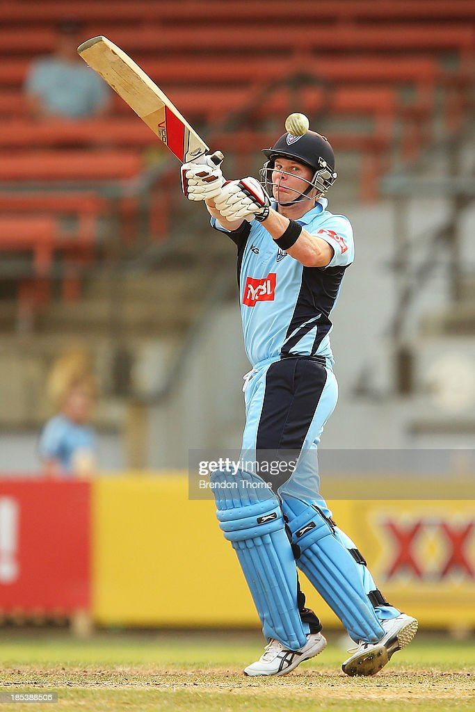 Steven Smith of the Blues plays a hook shot during the Ryobi Cup match between the New South Wales Blues and the Victorian Bushrangers at North Sydney Oval on October 20, 2013 in Sydney, Australia.