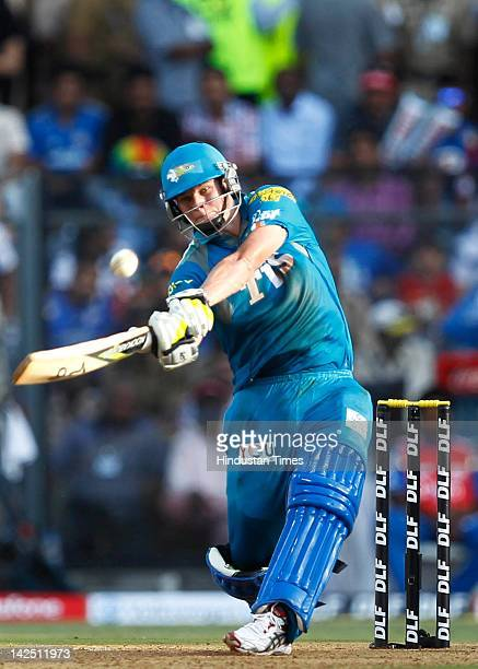 Steven Smith of the Pune Warriors plays a shot during the IPL 5 match between the Mumbai Indians and Pune Warriors at Wankhede Stadium on April 6...