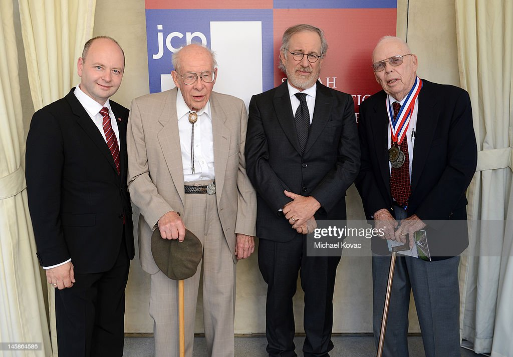 Steven Smith of the Shoah Foundation, World War II veteran Arthur Langhorst, Shoah Foundation founder <a gi-track='captionPersonalityLinkClicked' href=/galleries/search?phrase=Steven+Spielberg&family=editorial&specificpeople=202022 ng-click='$event.stopPropagation()'>Steven Spielberg</a> and World War II veteran James Sanders attend the USC Shoah Foundation Institute Ambassadors for Humanity Gala held at the Grand Ballroom at Hollywood & Highland Center on June 6, 2012 in Hollywood, California.