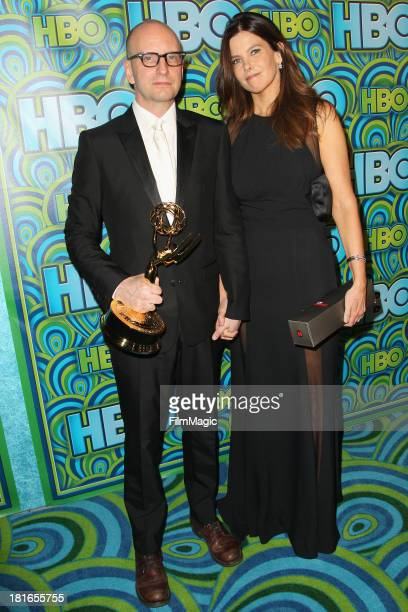 Steven Soderbergh and Jules Asner attend HBO's official Emmy After Party at The Plaza at the Pacific Design Center on September 22 2013 in Los...