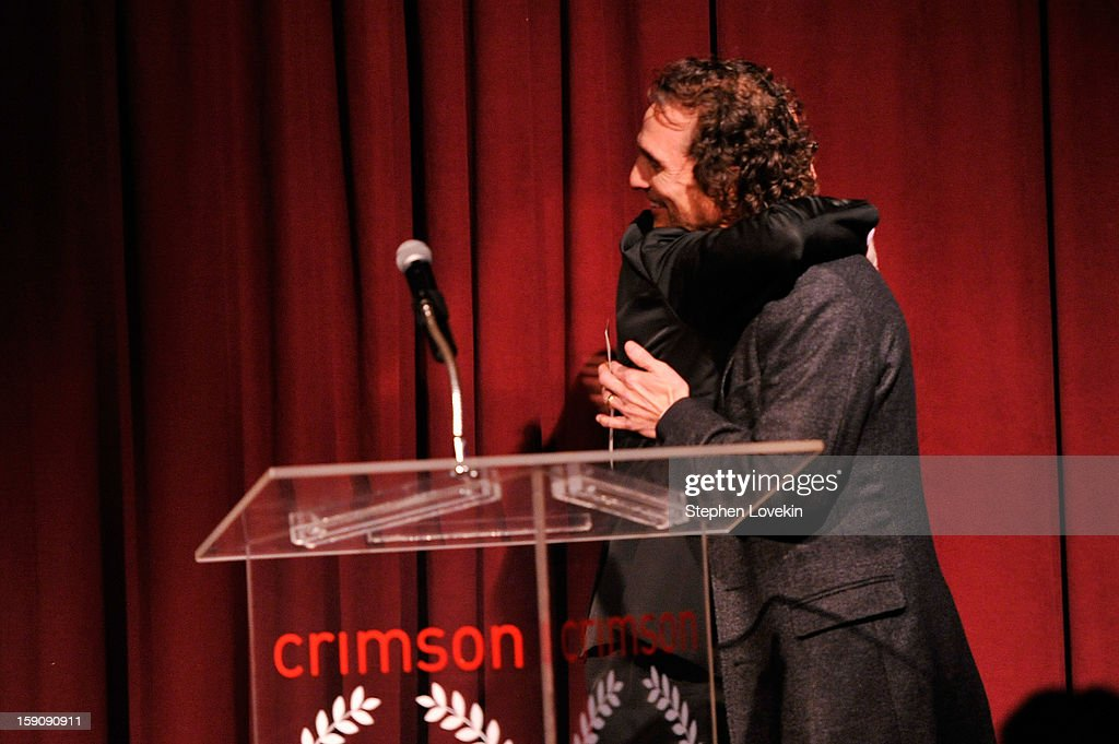 Steven Soderbergh (L) and Matthew McConaughey share a hug onstage at the 2012 New York Film Critics Circle Awards at Crimson on January 7, 2013 in New York City.