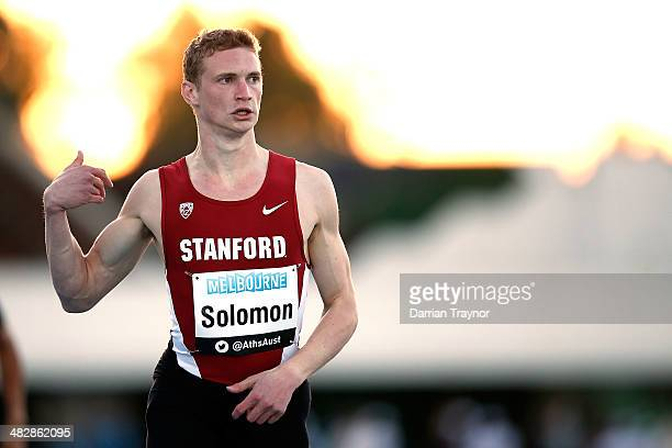 Steven Solomon looks at the time after winning the 400m final during the 92nd Australian Athletics Championships at Olympic Park on April 5 2014 in...