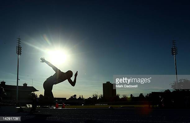 Steven Solomon of the NSWIS jumps out of the blocks in the Mens 400 Metres open during day three of the Australian Athletics Championships at...