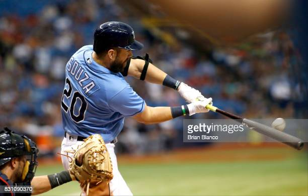 Steven Souza Jr #20 of the Tampa Bay Rays hits a tworun home run off of pitcher Corey Kluber of the Cleveland Indians during the sixth inning of a...