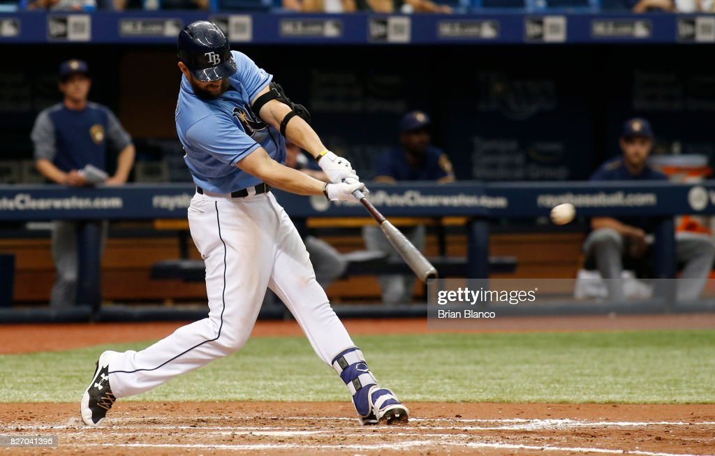 Steven Souza Jr. #20 of the Tampa Bay Rays hits a walk-off home run off of pitcher Jacob Barnes of the Milwaukee Brewers during the bottom of the ninth inning of a game on August 6, 2017 at Tropicana Field in St. Petersburg, Florida.