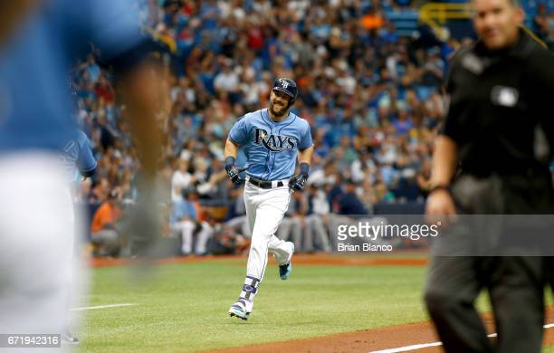 Steven Souza Jr #20 of the Tampa Bay Rays runs toward home plate after hitting a home run off of pitcher Joe Musgrove of the Houston Astros during...