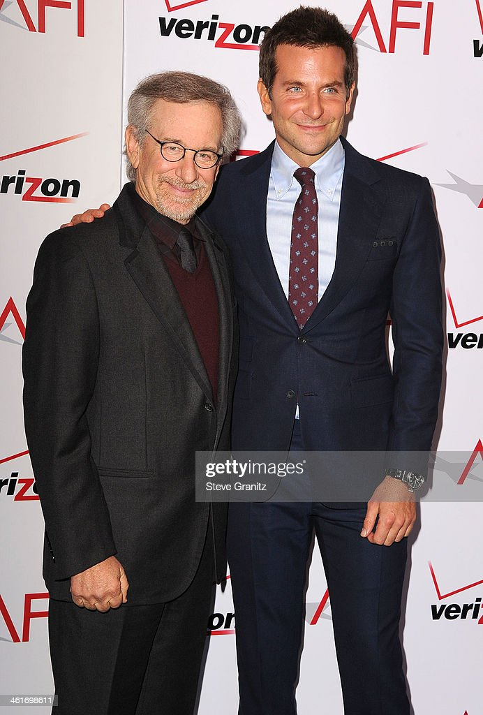 <a gi-track='captionPersonalityLinkClicked' href=/galleries/search?phrase=Steven+Spielberg&family=editorial&specificpeople=202022 ng-click='$event.stopPropagation()'>Steven Spielberg</a> and <a gi-track='captionPersonalityLinkClicked' href=/galleries/search?phrase=Bradley+Cooper&family=editorial&specificpeople=680224 ng-click='$event.stopPropagation()'>Bradley Cooper</a> arrives at the American Film Institute Awards Luncheon at Four Seasons Hotel Los Angeles at Beverly Hills on January 10, 2014 in Beverly Hills, California.