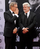 Steven Spielberg and George Lucas arrive at the 44th AFI Life Achievement Awards Gala Tribute to John Williams at Dolby Theatre on June 9 2016 in...