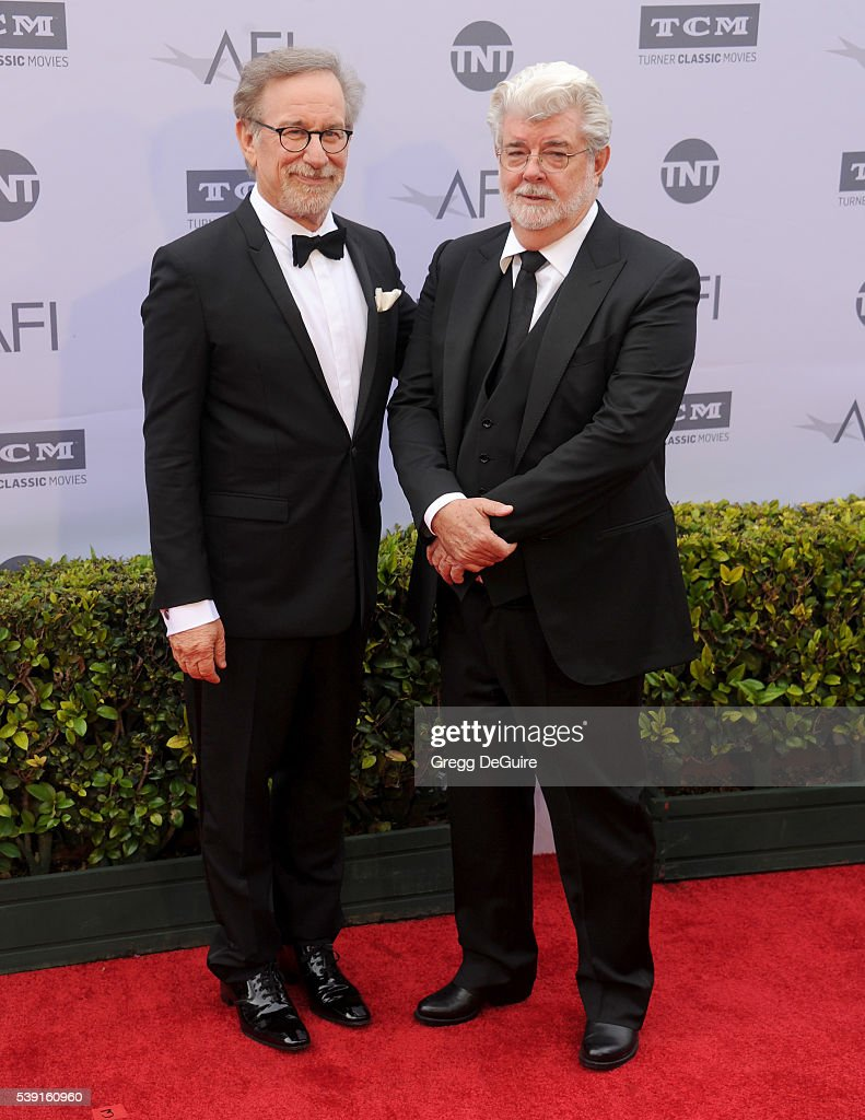 Steven Spielberg and George Lucas arrive at the 44th AFI Life Achievement Awards Gala Tribute to John Williams at Dolby Theatre on June 9, 2016 in Hollywood, California.