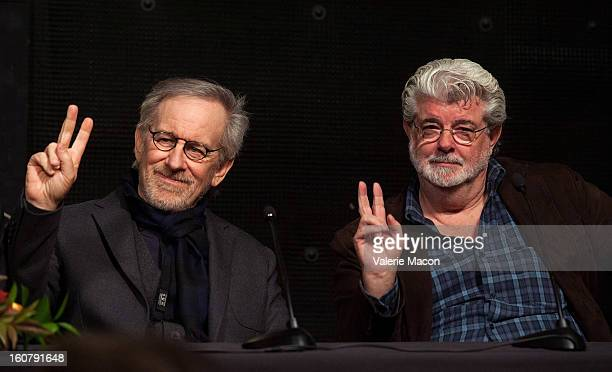 Steven Spielberg and George Lucas attend the Dedication of The Sumner M Redstone Production Building at USC on February 5 2013 in Los Angeles...