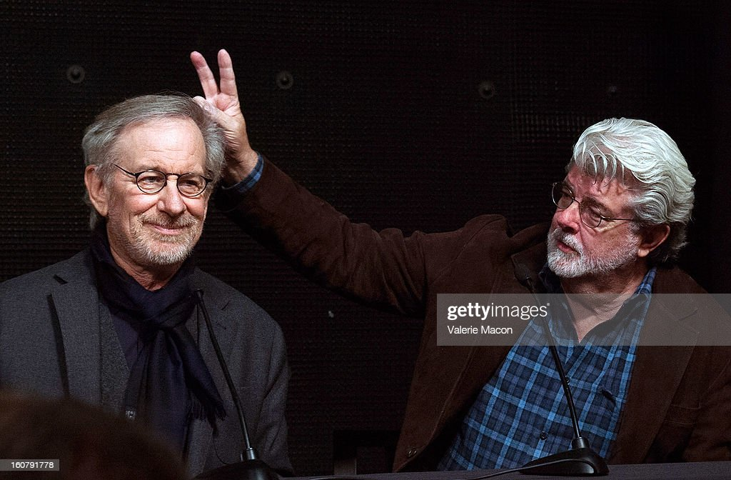<a gi-track='captionPersonalityLinkClicked' href=/galleries/search?phrase=Steven+Spielberg&family=editorial&specificpeople=202022 ng-click='$event.stopPropagation()'>Steven Spielberg</a> and <a gi-track='captionPersonalityLinkClicked' href=/galleries/search?phrase=George+Lucas&family=editorial&specificpeople=202500 ng-click='$event.stopPropagation()'>George Lucas</a> attend the Dedication of The Sumner M. Redstone Production Building at USC on February 5, 2013 in Los Angeles, California.