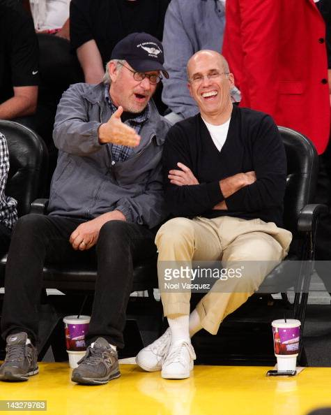 Steven Spielberg and Jeffrey Katzenberg attends a basketball game between the Oklahoma City Thunder and the Los Angeles Lakers at Staples Center on...