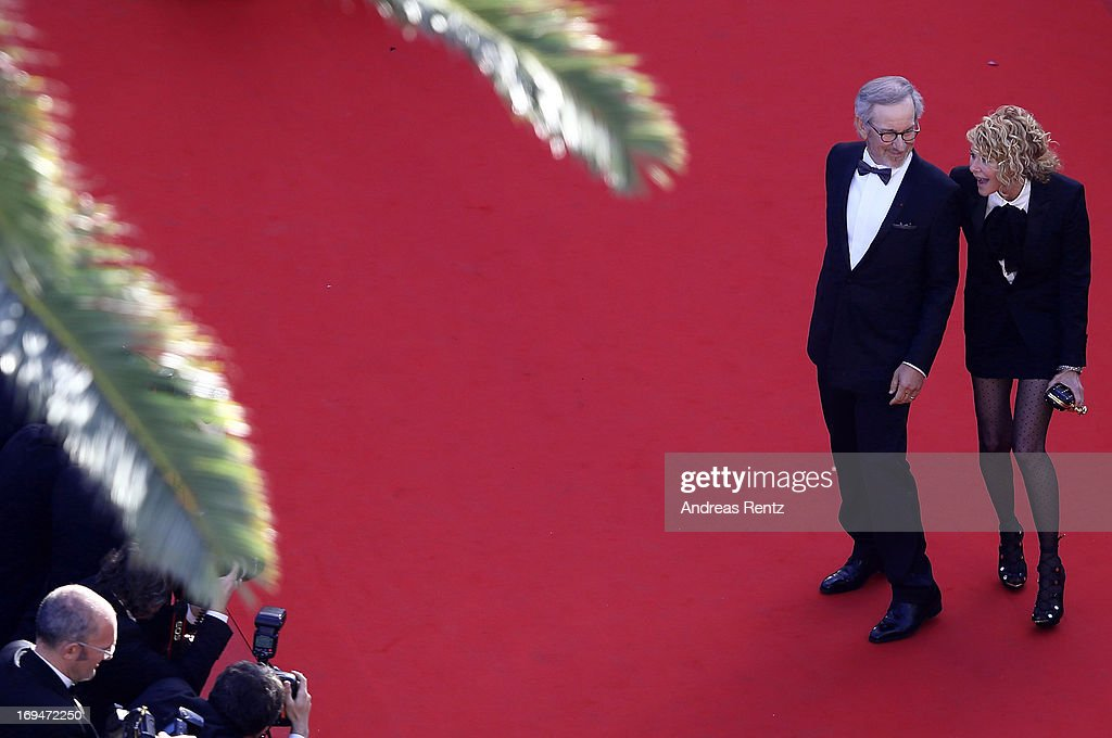 Steven Spielberg and Kate Capshaw arrive at 'Venus In Fur' Premiere during the 66th Annual Cannes Film Festival at Grand Theatre Lumiere on May 25, 2013 in Cannes, France.