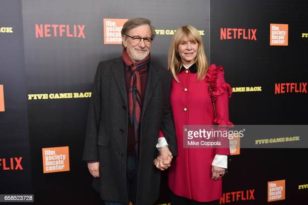 Steven Spielberg and Kate Capshaw attend the 'Five Came Back' world premiere at Alice Tully Hall at Lincoln Center on March 27 2017 in New York City