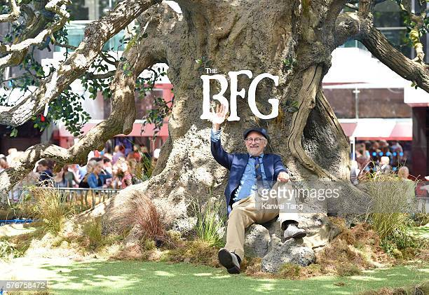 Steven Spielberg arrives for the UK film premiere of 'The BFG' at Odeon Leicester Square on July 17 2016 in London England