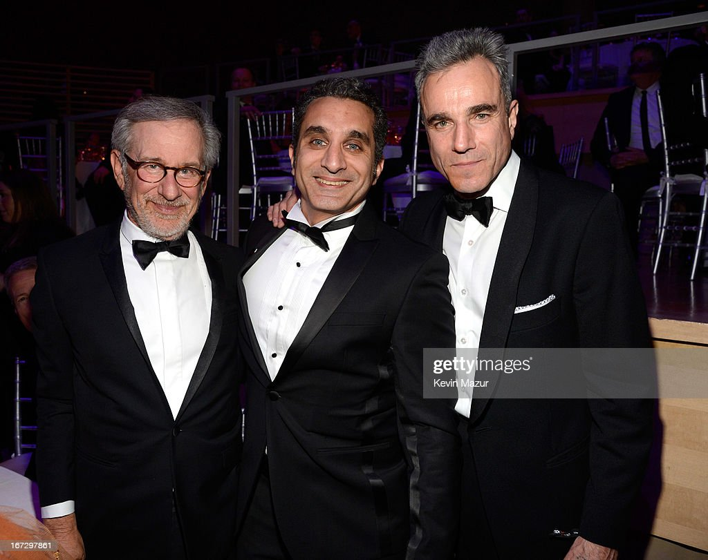 Steven Spielberg, Bassem Yousef and Daniel Day Lewis attend TIME 100 Gala, TIME'S 100 Most Influential People In The World at Jazz at Lincoln Center on April 23, 2013 in New York City.