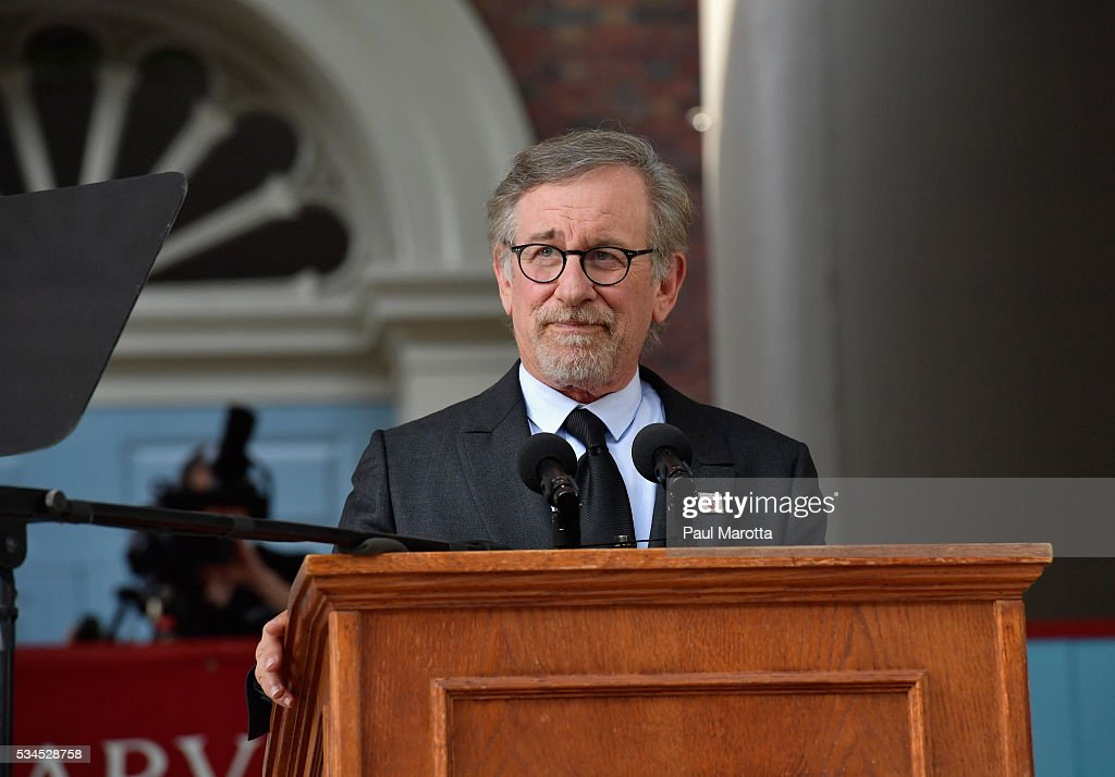 Steven Spielberg delivers the Commencement Address at the Annual Meeting of the Harvard Alumni Association at the 365th Harvard University Commencement Afternoon Exercises on May 26, 2016 in Cambridge, Massachusetts.