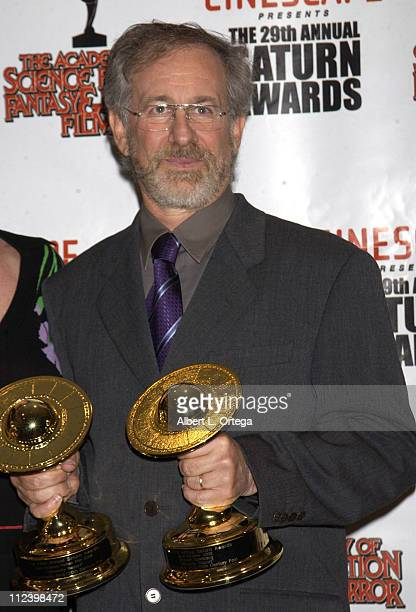Steven Spielberg during The 29th Annual Saturn Awards By The Academy Of Science Fiction Fantasy And Horror Press Room at Renaissance Hotel in...