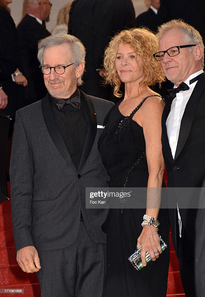 Steven Spielberg, Kate Capshaw and Thierry Fremaux attend the Premiere of 'Jimmy P. (Psychotherapy Of A Plains Indian)' at Palais des Festivals during The 66th Annual Cannes Film Festival on May 18, 2013 in Cannes, France.