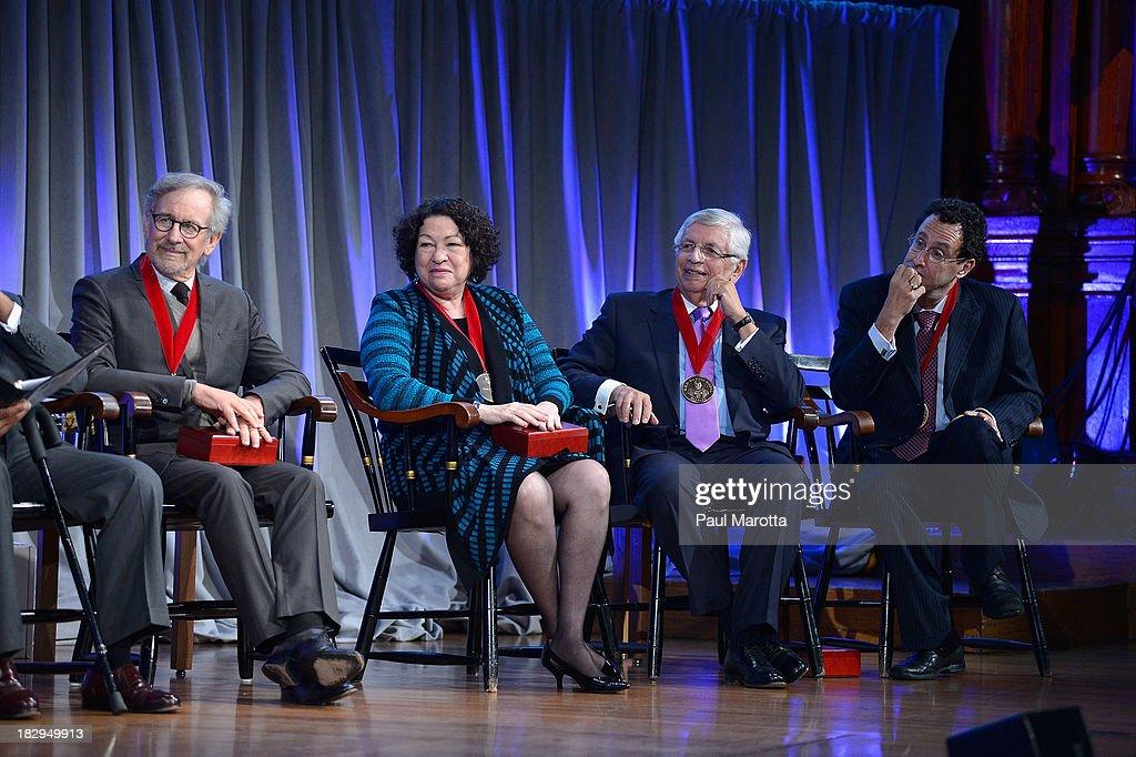 Steven Spielberg, Sonia Sotomayor, David Stern and Tony Kushner receive the 2013 W.E.B. Du Bois Medal at a ceremony at Harvard University's Sanders Theatre on October 2, 2013 in Cambridge, Massachusetts.