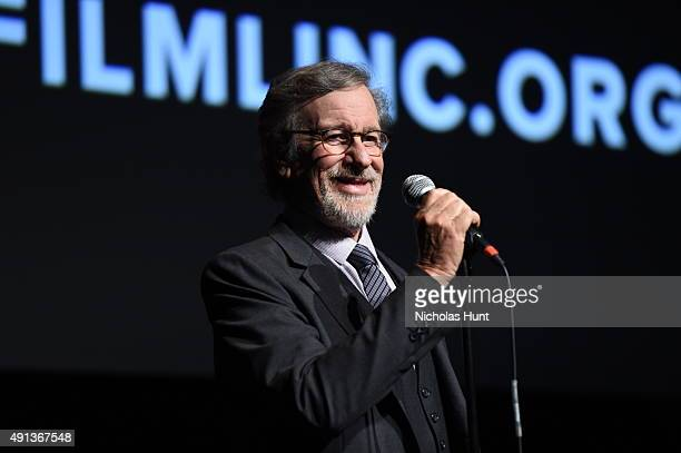 Steven Spielberg speaks at the cast introduction of 'Bridge Of Spies' during the 53rd New York Film Festival at Alice Tully Hall Lincoln Center on...