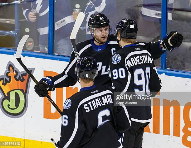 Steven Stamkos and Anton Stralman of the Tampa Bay Lightning celebrate a goal by Vladislav Namestnikov against the Florida Panthers during second...