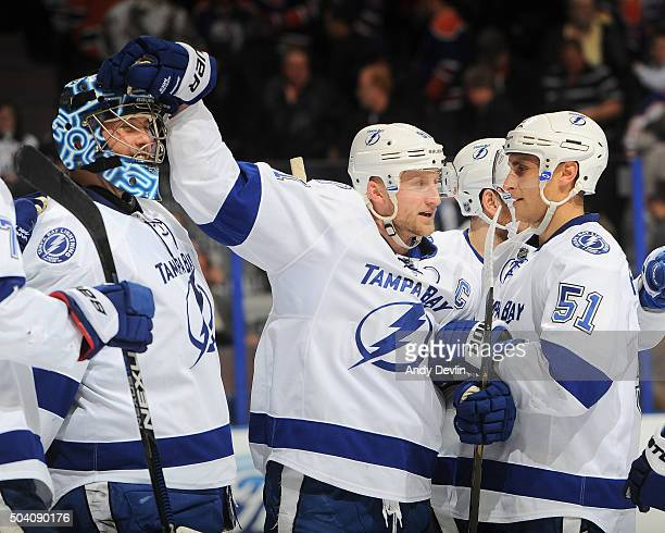 Steven Stamkos and Ben Bishop of the Tampa Bay Lightning celebrate after winning the game against the Edmonton Oilers on January 8 2016 at Rexall...