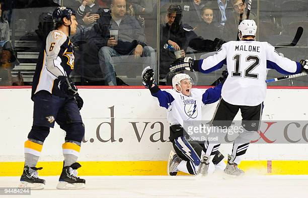 Steven Stamkos celebrates his goal with Ryan Malone of the Tampa Bay Lightning against Shea Weber of the Nashville Predators on December 15 2009 at...