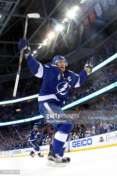 Steven Stamkos celebrates teammate Alex Killorn first period goal against the Chicago Blackhawks during Game One of the 2015 NHL Stanley Cup Final at...