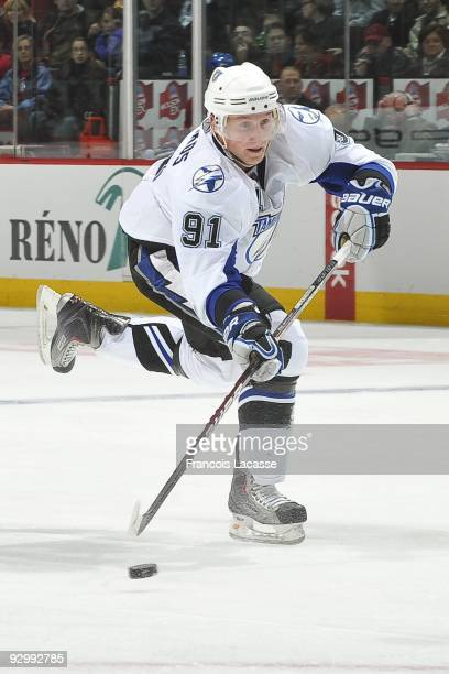 Steven Stamkos of Tampa Bay Lightning takes a shot during the NHL game against the Montreal Canadiens on November 07 2009 at the Bell Center in...