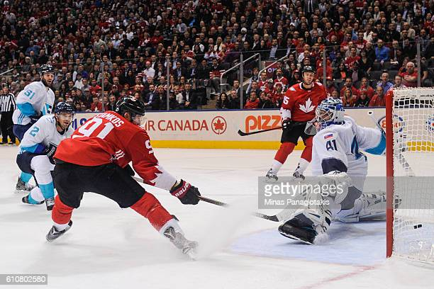 Steven Stamkos of Team Canada scores on goaltender Jaroslav Halak of Team Europe during the World Cup of Hockey 2016 at Air Canada Centre on...