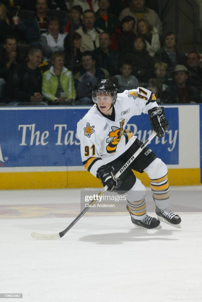 Steven Stamkos of the Sarnia Sting skates against the London Knights at the John Labatt Centre on October 27 2006 in London Ontario Canada