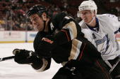 Steven Stamkos of the Tampa Bay Lighting fights for position against Ryan Getzlaf of the Anaheim Ducks during the game on November 19 2009 at Honda...