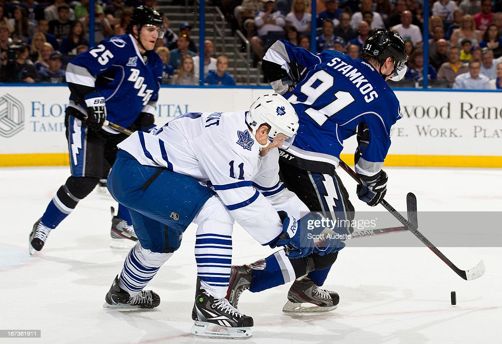 <a gi-track='captionPersonalityLinkClicked' href=/galleries/search?phrase=Steven+Stamkos&family=editorial&specificpeople=4047623 ng-click='$event.stopPropagation()'>Steven Stamkos</a> #91 of the Tampa Bay Lightning battles for possession of the puck with <a gi-track='captionPersonalityLinkClicked' href=/galleries/search?phrase=Jay+McClement&family=editorial&specificpeople=575233 ng-click='$event.stopPropagation()'>Jay McClement</a> #11 of the Toronto Maple Leafs during the second period of the game at the Tampa Bay Times Forum on April 24, 2013 in Tampa, Florida.