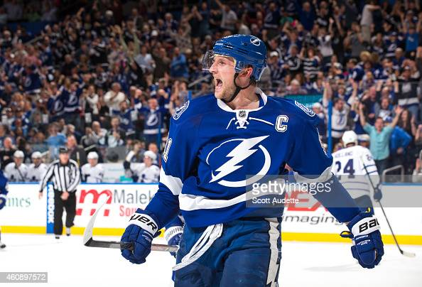 Steven Stamkos of the Tampa Bay Lightning celebrates his goal against the Toronto Maple Leafs during the third period at the Amalie Arena on December...