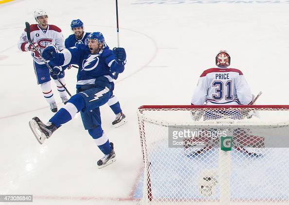 Steven Stamkos of the Tampa Bay Lightning celebrates his goal against goalie Carey Price of the Montreal Canadiens during the second period in Game...