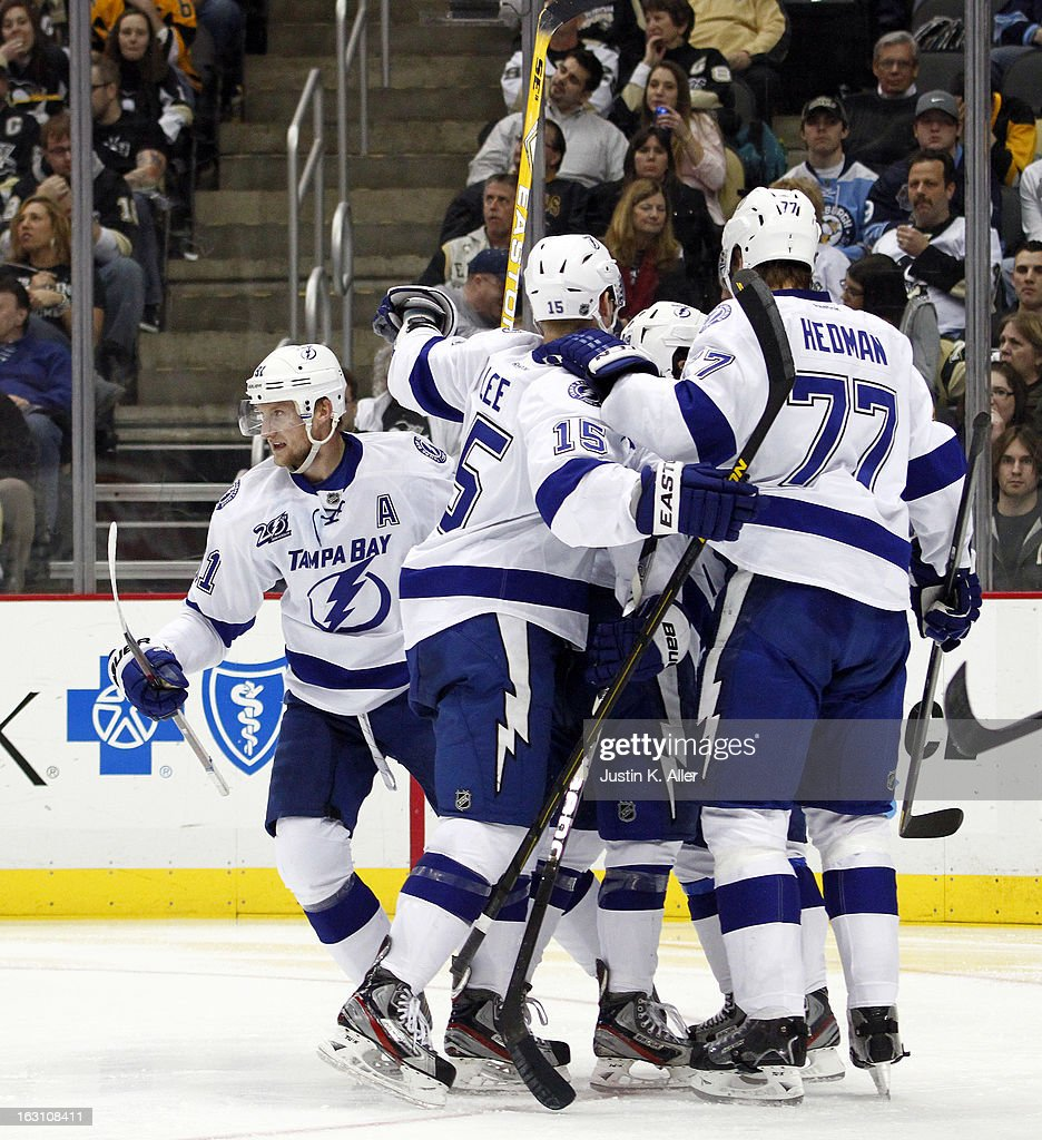 Steven Stamkos #91 of the Tampa Bay Lightning celebrates his second period goal against the Pittsburgh Penguins during the game at Consol Energy Center on March 4, 2013 in Pittsburgh, Pennsylvania.