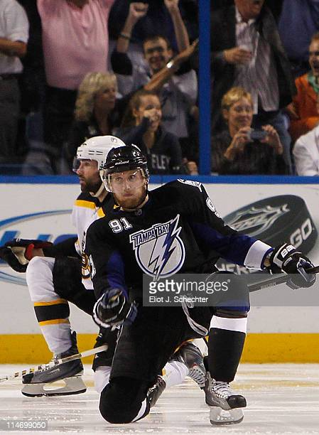 Steven Stamkos of the Tampa Bay Lightning celebrates his third period goal against the Boston Bruins in Game Six of the Eastern Conference Finals...