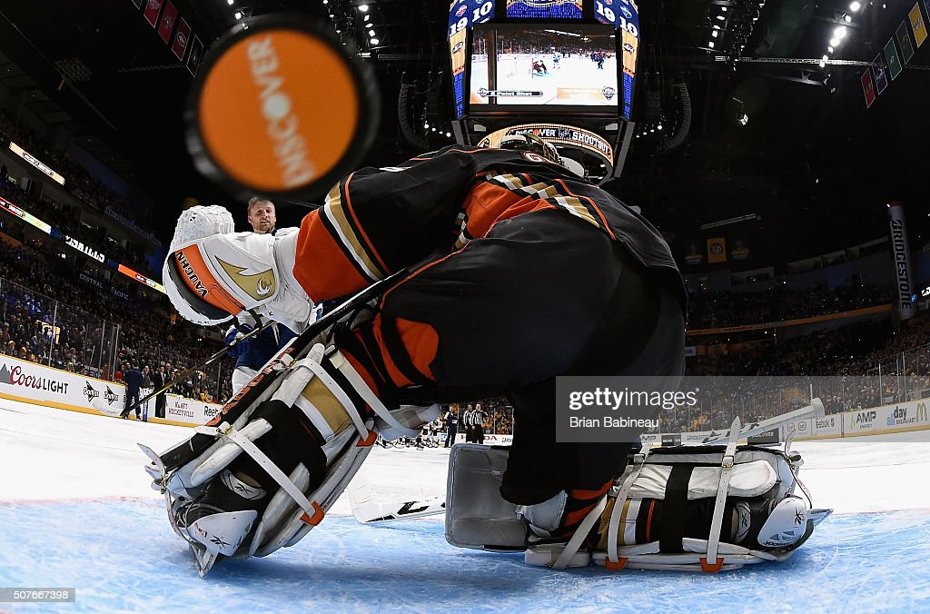 Steven Stamkos of the Tampa Bay Lightning competes against goaltender John Gibson of the Anaheim Ducks in the Discover NHL Shootout during 2016 Honda...