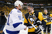 Steven Stamkos of the Tampa Bay Lightning congratulates Sidney Crosby of the Pittsburgh Penguins after defeating the Tampa Bay Lightning in Game...