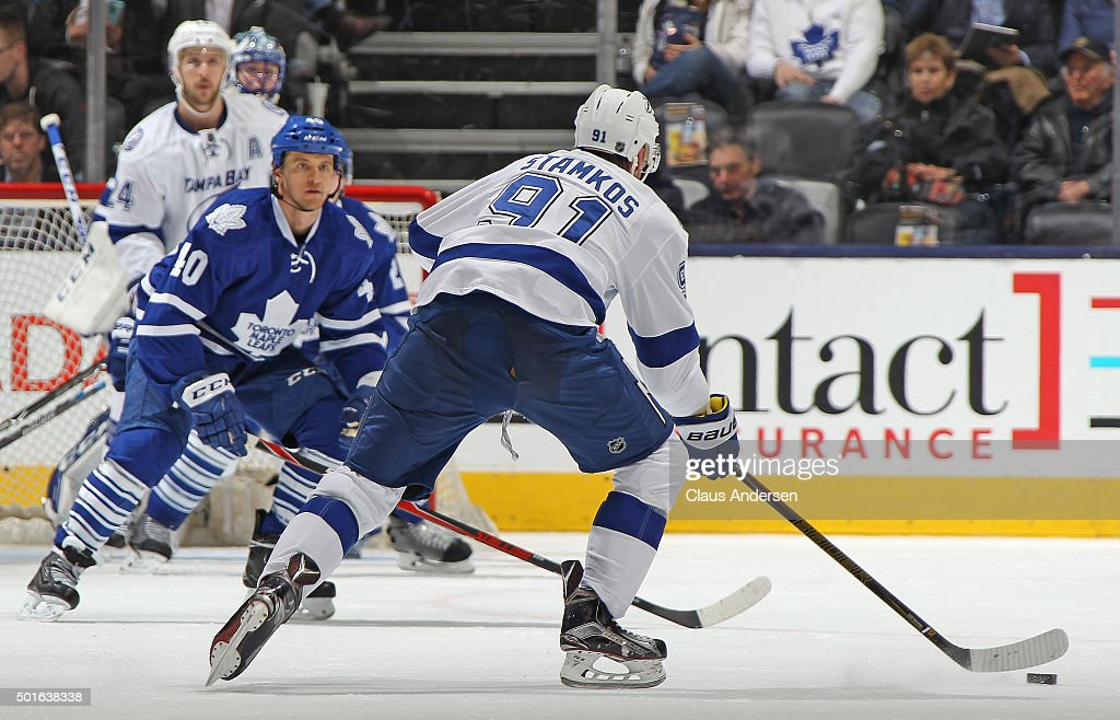 Steven Stamkos #91 of the Tampa Bay Lightning gets set to fire a shot against the Toronto Maple Leafs during an NHL game at the Air Canada Centre on December 15, 2015 in Toronto, Ontario, Canada. The Lightning defeated the Leafs 5-4 in overtime.
