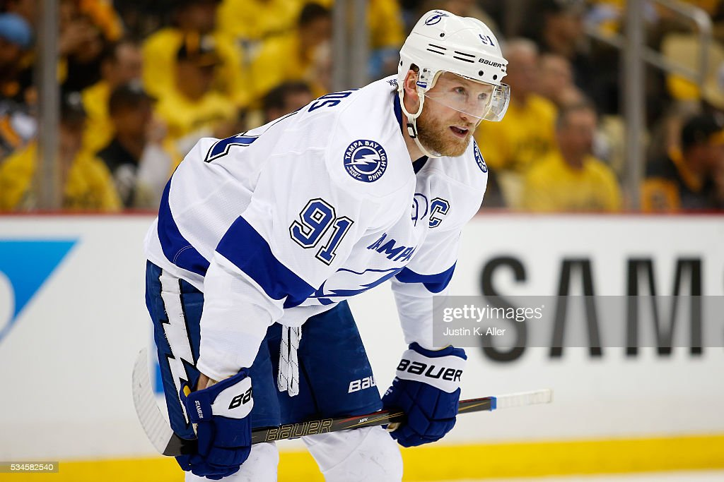 <a gi-track='captionPersonalityLinkClicked' href=/galleries/search?phrase=Steven+Stamkos&family=editorial&specificpeople=4047623 ng-click='$event.stopPropagation()'>Steven Stamkos</a> #91 of the Tampa Bay Lightning looks on during the second period against the Pittsburgh Penguins in Game Seven of the Eastern Conference Final during the 2016 NHL Stanley Cup Playoffs at Consol Energy Center on May 26, 2016 in Pittsburgh, Pennsylvania.