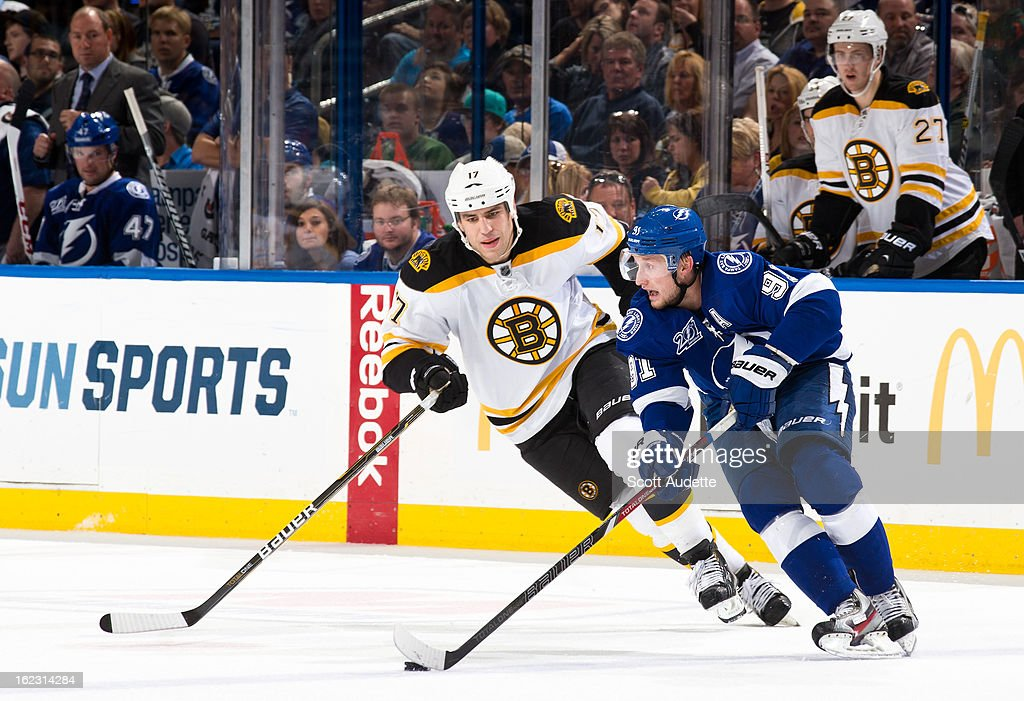 Steven Stamkos #91 of the Tampa Bay Lightning moves the puck down ice ahead of Milan Lucic #17 of the Boston Bruins during the game at the Tampa Bay Times Forum on February 21, 2013 in Tampa, Florida.