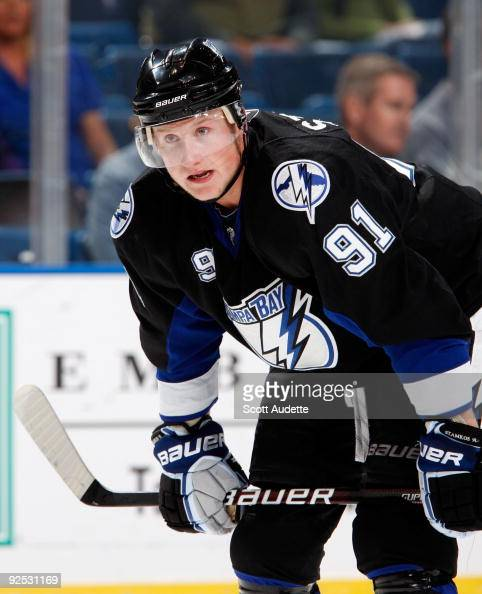 Steven Stamkos of the Tampa Bay Lightning rests during a break in the action against the Ottawa Senators at the St Pete Times Forum on October 29...