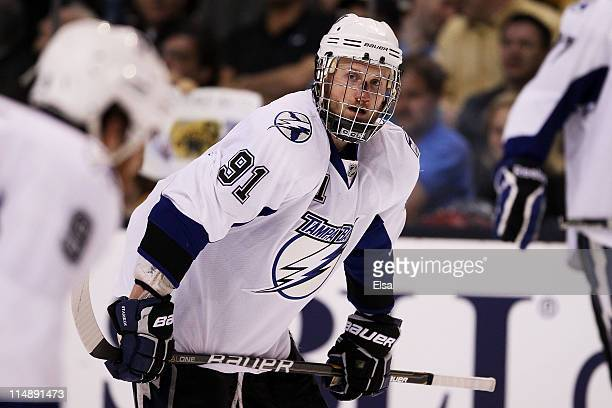 Steven Stamkos of the Tampa Bay Lightning returns to the game after being hit in the face with a puck in Game Seven of the Eastern Conference Finals...
